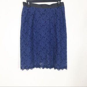 Miguelina Blue Floral Lace 100% Silk Pencil Skirt